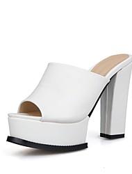 cheap -Women's Shoes Leatherette Spring & Summer Basic Pump Slippers & Flip-Flops Chunky Heel Peep Toe for Office & Career White / Black