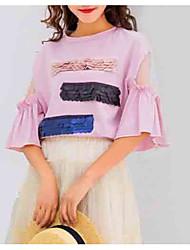 abordables -Tee-shirt Femme, Couleur Pleine Epaules Dénudées