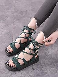 cheap -Women's Shoes Nubuck leather Summer Comfort Sandals Flat Heel Black / Almond / Dark Green / Lace up