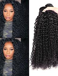 baratos -3 pacotes Cabelo Peruviano Encaracolado Cabelo Humano Cabelo Humano Ondulado / Extensões de Cabelo Natural Tramas de cabelo humano Melhor qualidade / Venda imperdível / Para Mulheres Negras Côr
