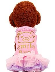baratos -Cachorros / Gatos / Animais de Estimação Vestidos Roupas para Cães Voile / Transparente / Padrão / Frases e Citações Verde / Rosa claro