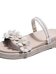 baratos -Mulheres Sapatos Couro Ecológico Verão Conforto Sandálias Creepers para Ao ar livre Preto / Bege