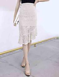 preiswerte -Damen Ausgehen Trompete / Meerjungfrau Röcke - Solide Hohe Taillenlinie
