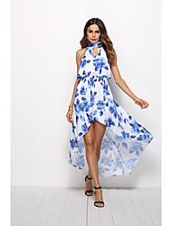 economico -Per donna Swing Vestito Fantasia floreale Asimmetrico
