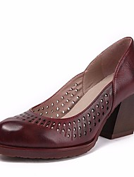 お買い得  -女性用 靴 レザー 春 コンフォートシューズ ヒール チャンキーヒール ラウンドトウ のために アウトドア カーキ色 / バーガンディー