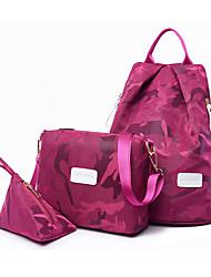 baratos -Mulheres Bolsas Náilon Conjuntos de saco 3 Pcs Purse Set Estampa para Casual / Ao ar livre Preto / Roxo / Fúcsia