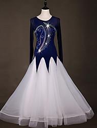 abordables -Danse de Salon Robes Femme Entraînement Nylon / Organza / Tulle Cristaux / Stras Manches Longues Taille haute Robe