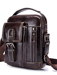 cheap -Men's Bags Leather Shoulder Bag Zipper Coffee / Brown