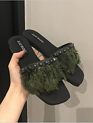 cheap -Women's Shoes Cashmere / Rubber Summer Comfort Slippers & Flip-Flops Flat Heel for Casual Black / Green