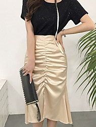 cheap -Women's Going out Faux Leather Trumpet / Mermaid Skirts - Solid Colored