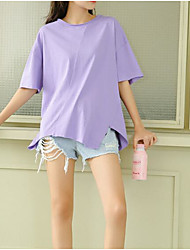 baratos -Mulheres Camiseta Negócio / Vintage Franjas, Sólido Azul e Branco