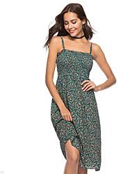 baratos -Mulheres Para Noite Moda de Rua Pêlo Sintético Delgado Evasê Vestido - Estampado, Geométrica Sem Alças / Decote Canoa Altura dos Joelhos