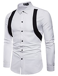 cheap -Men's Punk & Gothic Street chic Shirt - Color Block Black & White Black & Red, Lace up