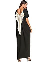 Недорогие -Жен. Большие размеры Свободный силуэт Прямое Платье - Контрастных цветов, Бант Макси