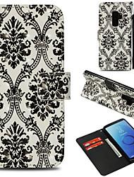 baratos -Capinha Para Samsung Galaxy S9 Plus / S9 Carteira / Porta-Cartão / Com Suporte Capa Proteção Completa Lace Impressão Rígida PU Leather para S9 / S9 Plus / S8 Plus