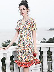 cheap -Blueskybutterfly Women's Basic / Sophisticated Butterfly Sleeves Trumpet / Mermaid Dress - Floral