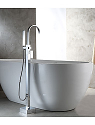 cheap -Bathtub Faucet - Contemporary / Standing Style Chrome Floor Mounted Ceramic Valve / Single Handle One Hole
