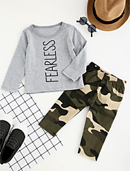cheap -Boys' Camouflage Clothing Set, Cotton Polyester Spring Fall Long Sleeves Cartoon Dresswear Gray
