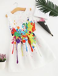 abordables -Robe Fille de Polyester Eté Sans Manches Fleur Blanc