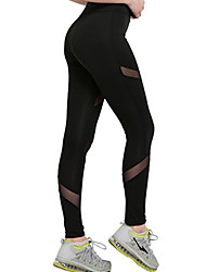 cheap -Women's Yoga Pants - Black Sports Hollow Tights / Leggings Activewear Dancing, Quick Dry Stretchy