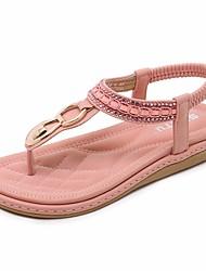 Недорогие -Жен. Обувь Полиуретан Лето Удобная обувь Сандалии На плоской подошве Черный / Синий / Розовый
