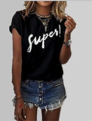 cheap -Women's Cute / Active T-shirt - Solid Colored / Letter Print