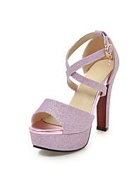 baratos -Mulheres Sapatos Gliter Verão Tira no Tornozelo Sandálias Salto Robusto Peep Toe Presilha para Casamento / Festas & Noite Preto / Prata /