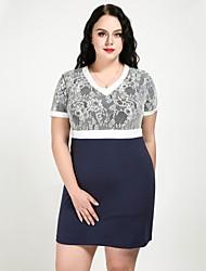 economico -Per donna Essenziale / sofisticato Tubino / Fodero Vestito - Pizzo, Monocolore Sopra il ginocchio Blu e bianco