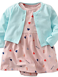 cheap -Baby Girls' Solid Colored Print Color Block Long Sleeves Clothing Set