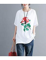 baratos -Mulheres Camiseta Vintage Franjas, Sólido / Geométrica Preto & Branco