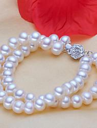abordables -Femme Perle / Perle d'eau douce Bracelets de rive - S925 argent sterling, Perle d'eau douce Fleur Classique, Naturel, Elégant Bracelet Blanc Pour Cadeau / Quotidien