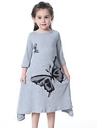 cheap -Kids Toddler Girls' Butterfly Print 3/4 Length Sleeves Dress