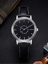 Недорогие -YAZOLE Муж. Кварцевый Наручные часы Китайский Защита от влаги Кожа Группа минималист Черный Коричневый
