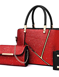 cheap -Women's Bags Glitter Tote 3 Pcs Purse Set Beading for Office & Career Silver / Red / Camel