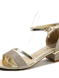 cheap -Women's Shoes PU Summer Comfort Sandals Block Heel Open Toe Buckle for Gold Silver