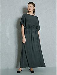 baratos -Mulheres Trabalho Para Noite Moda de Rua Delgado Tubinho Bainha balanço Vestido Sólido Cintura Alta Longo