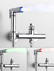abordables -Moderne Montage mural Séparé Soupape céramique Mitigeur deux trous Chrome, Robinet Bidet