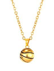 abordables -Femme Acier inoxydable Pendentif de collier  -  Mode Balle Or Noir Argent 55cm Colliers Tendance Pour Quotidien