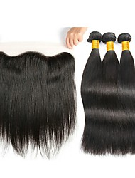 cheap -3 Bundles with Closure Indian Hair Straight Human Hair Hair Weft with Closure Human Hair Weaves Gift / Soft / New Arrival Natural Color Human Hair Extensions Women's