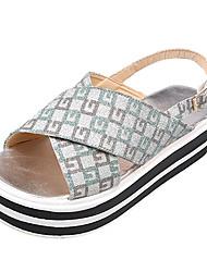 Недорогие -Жен. Обувь Полиуретан Лето Удобная обувь Сандалии Микропоры Зеленый / Розовый