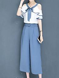 baratos -Mulheres Sofisticado / Moda de Rua Manga Alargamento Conjunto - Vazado / Laço, Sólido / Estampa Colorida Calça