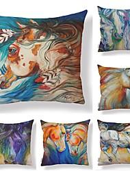 cheap -6 pcs Textile / Cotton / Linen Pillow case, Art Deco / Animal / Printing Animals / Square Shaped
