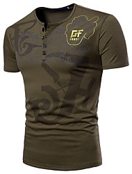 economico -T-shirt Per uomo Alfabetico Rotonda - Cotone / Si prega di scegliere una taglia più grande di una misura, rispetto alla solita.
