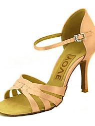 cheap -Women's Latin Shoes / Salsa Shoes Satin / Silk Sandal / Heel Buckle / Ribbon Tie Customized Heel Customizable Dance Shoes Yellow /
