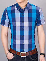 cheap -Men's Cotton / Polyester Shirt - Color Block Classic Collar / Please choose one size larger according to your normal size. / Short Sleeve