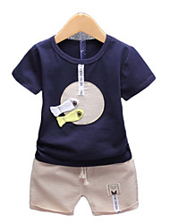 Недорогие -Дети Дети (1-4 лет) Мальчики Геометрический принт Контрастных цветов С короткими рукавами Набор одежды
