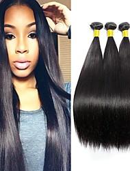 Недорогие -3 Связки Бразильские волосы Прямой Необработанные Человека ткет Волосы / Накладки из натуральных волос Ткет человеческих волос Лучшее качество / Горячая распродажа / Для темнокожих женщин