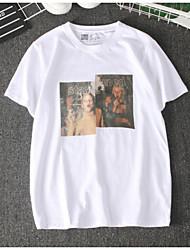 baratos -Mulheres Camiseta Vintage Estampado, Retrato Algodão Gola Redonda Solto / Verão