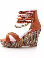 cheap -Women's Shoes PU(Polyurethane) Summer Comfort Sandals Wedge Heel Orange / Blue / Pink