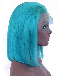 cheap -Remy Human Hair Lace Front Wig Peruvian Hair Straight Wig Bob Haircut 130% With Baby Hair / Soft / Silky Blue Women's Short Human Hair Lace Wig / Natural Hairline